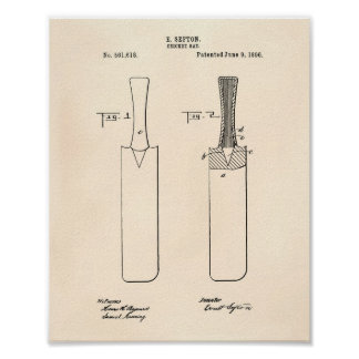 Cricket Bat 1886 Patent Art Old Peper Poster