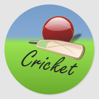 Cricket - bat and ball on grassy horizon round sticker