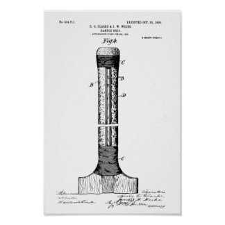 CRICKET BAT PATENT - CIRCA 1906 POSTER