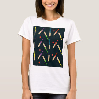 Cricket Bats and Balls Fitted White Tee Shirt