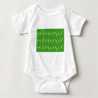 Cricket bats/ balls with green background Vest Baby Bodysuit