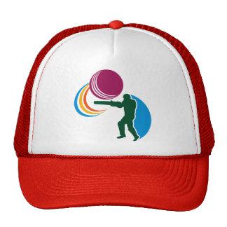 cricket batsman batting ball silhouette mesh hats
