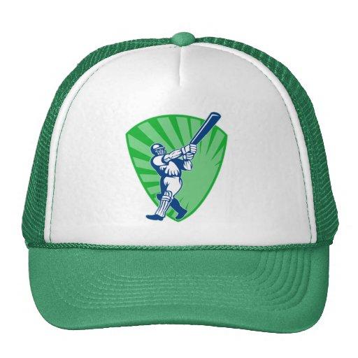 cricket batsman batting shield bat trucker hats