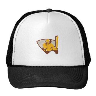 Cricket Batsman Batting Shield Retro Cap