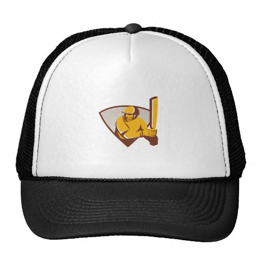 Cricket Batsman Batting Shield Retro Trucker Hats
