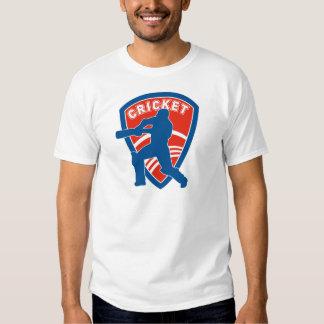 cricket batsman batting silhouette shield t-shirts