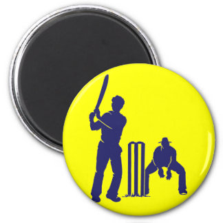 CRICKET BATTER AND REF 6 CM ROUND MAGNET