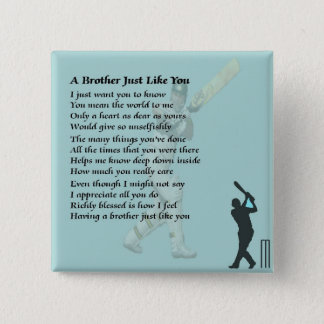 Cricket - Brother Poem 15 Cm Square Badge