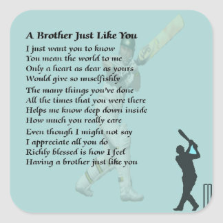 Cricket - Brother Poem Square Sticker
