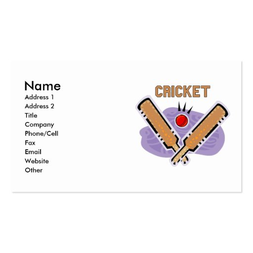 Cricket Business Cards