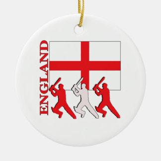 Cricket England Round Ceramic Decoration