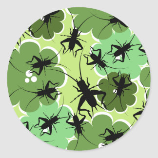 Cricket Floral Pattern Green + Black Round Sticker