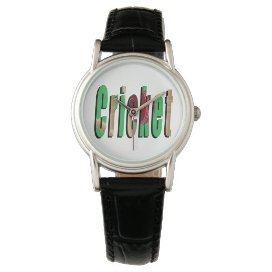 Cricket Game Logo,Ladies Black Leather Watch