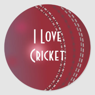 Cricket I Love Cricket Round Stickers
