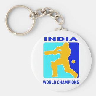 cricket india world champions basic round button key ring