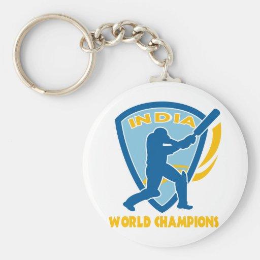cricket india world champions batsman batting keychain