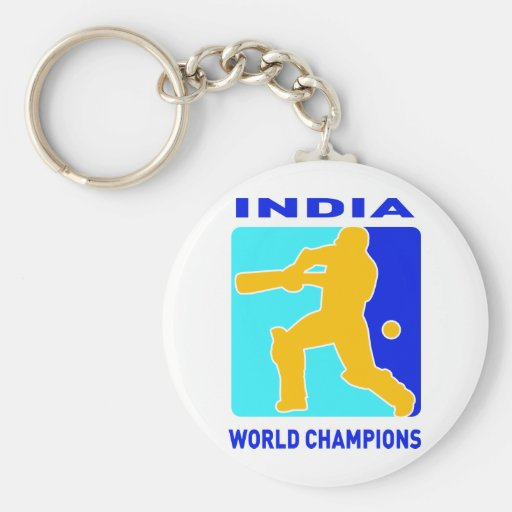 cricket india world champions keychain
