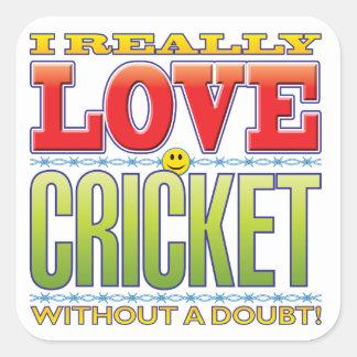 Cricket Love Face Square Stickers