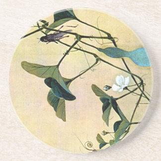 Cricket on a Vine Japanese Woodblock Art Ukiyo-E Coaster