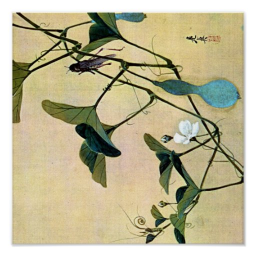 Cricket on a Vine Japanese Woodblock Art Ukiyo-E Poster