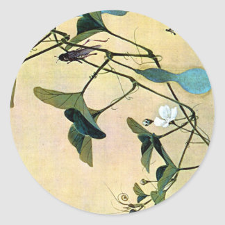 Cricket on a Vine Japanese Woodblock Art Ukiyo-E Round Sticker
