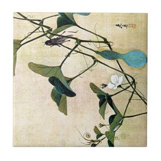 Cricket on a Vine Japanese Woodblock Art Ukiyo-E Small Square Tile