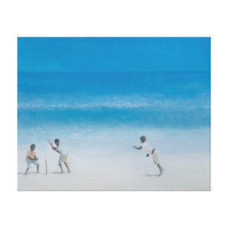 Cricket on the beach 2012 canvas print