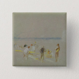 Cricket on the Goodwin Sands (chalk, w/c & bodycol 15 Cm Square Badge