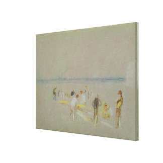 Cricket on the Goodwin Sands (chalk, w/c & bodycol Canvas Print