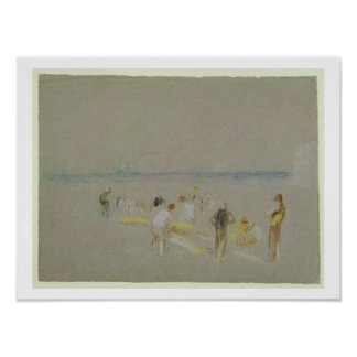 Cricket on the Goodwin Sands (chalk, w/c & bodycol Poster