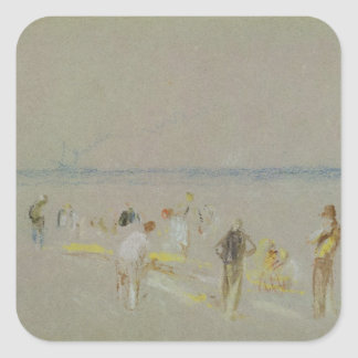 Cricket on the Goodwin Sands (chalk, w/c & bodycol Square Sticker