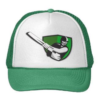 cricket player batsman bat shield retro hats