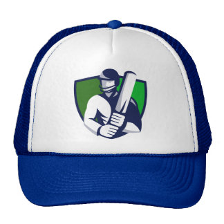 cricket player batsman bat shield retro mesh hats