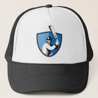 cricket player batsman bat shield retro trucker hat