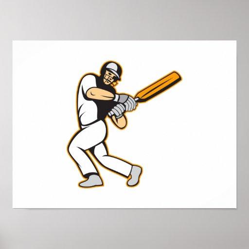 Cricket Player Batsman Batting Poster