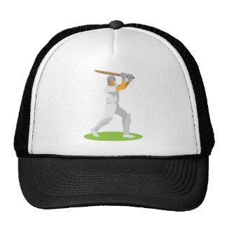 cricket player batsman batting retro cap