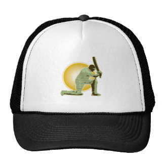 cricket player batsman batting retro mesh hat