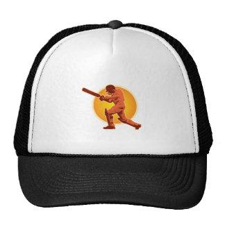 cricket player batsman batting retro trucker hat