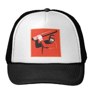 cricket player batsman batting retro mesh hats