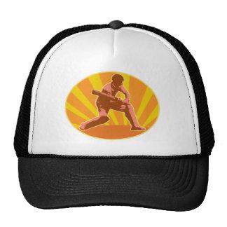 cricket player batsman batting retro hats