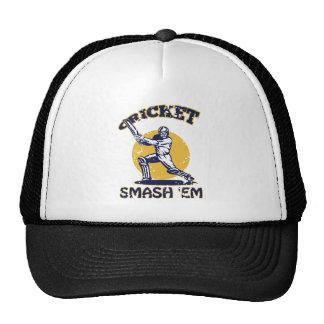 cricket player batsman batting retro style mesh hats