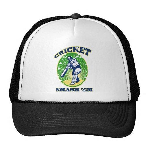cricket player batsman batting retro style hats