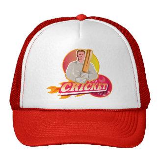 cricket player batsman with bat flaming ball hats