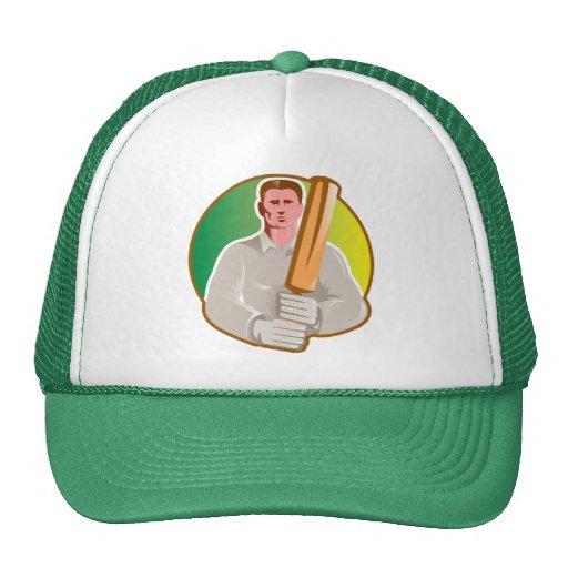 cricket player batsman with bat front view hats