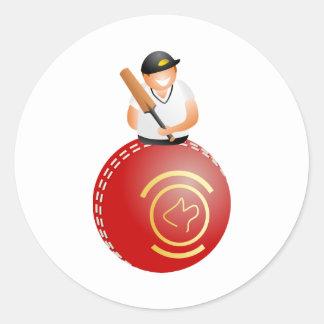 Cricket Player Classic Round Sticker
