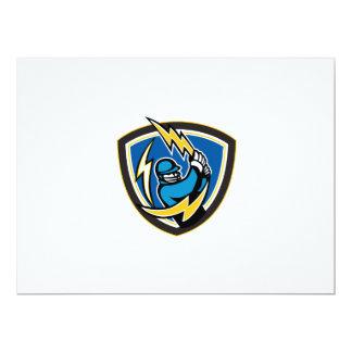 Cricket Player Lightning Bat Crest Retro 17 Cm X 22 Cm Invitation Card