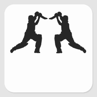 Cricket Player Mirror Image Square Stickers