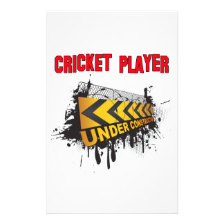 Cricket Player Under Construction Stationery Design