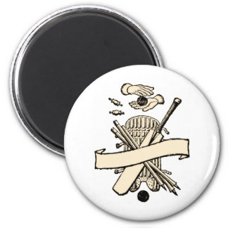 CRICKET PLAYERS CREST 6 CM ROUND MAGNET