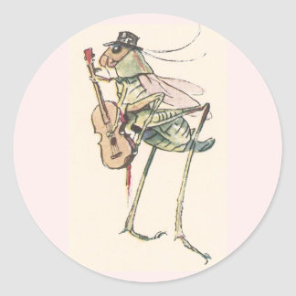 Cricket Playing the Fiddle Classic Round Sticker